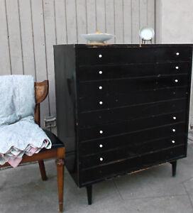 American Martinsville Vintage Black White Dresser w/ Wear
