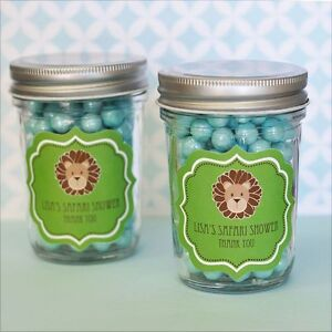 24 personalized jungle safari theme mini mason jars baby shower favors
