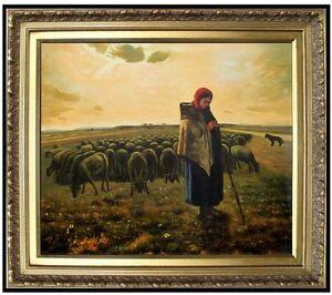 Framed-Millet-Shepherdess-amp-Her-Flock-Repro-Hand-Painted-Oil-Painting-20x24in