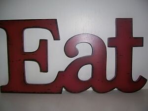 ... EAT Sign Kitchen Wall Words Red Letters Shabby