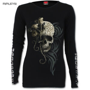 SPIRAL-DIRECT-Ladies-Black-Goth-DARK-ANGEL-Skull-Buckle-L-Sleeve-All-Sizes