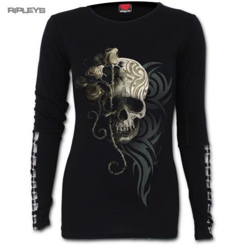 SPIRAL DIRECT Ladies Black Goth DARK ANGEL Skull Buckle L//Sleeve All Sizes