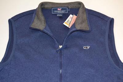 Vineyard Vines Sweater Fleece Full Zip Vest Navy Blue Mens Small Ebay