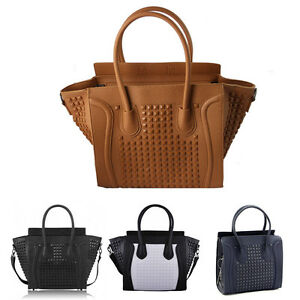 Womens-Ladies-Designer-Celebrity-Leather-Style-Tote-Satchel-Studded-Smile