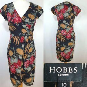 Hobbs-Black-Faux-Wrap-Shift-Dress-Red-Orange-Floral-Print-Size-10-Wool-Wedding
