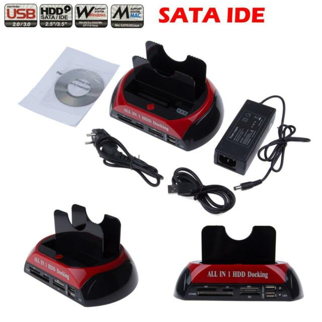 """New Dual 2.5""""/3.5"""" ide sata Hdd hard drive disk dock docking station all in 1 EU"""