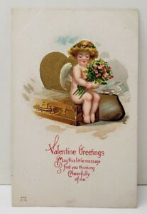 Valentine-039-s-Greeting-Cupid-Gold-Gild-Embossed-1914-Postcard-B11