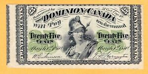 Dominion-of-Canada-25-Cents-VF-Miscut-Error-Plain-1870-P-8a-DC-1c-Banknote