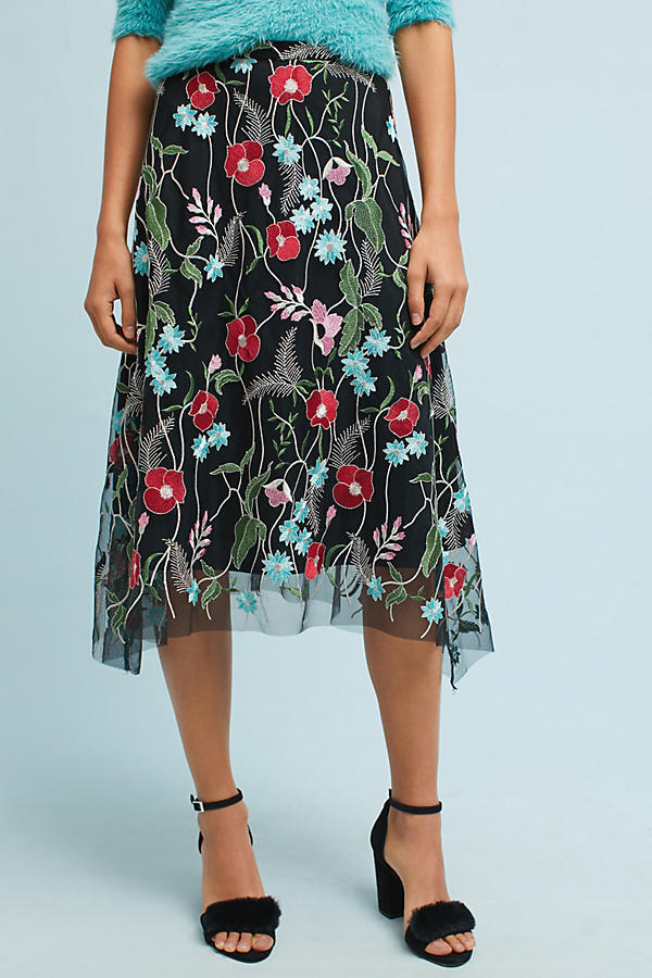 NWT Anthropologie Poppy Embroidered Skirt by Eva Franco sz 0