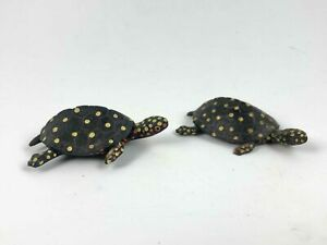 Lot-2-Black-Resin-Turtle-Handpainted-Babys-Tortoise-Comp-Figurine-3-034