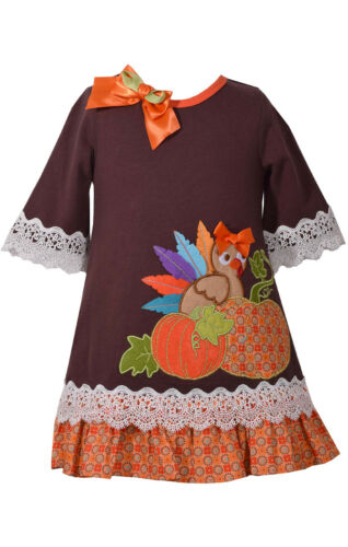 Bonnie Jean Girls Thanksgiving Turkey /& Pumpkin Holiday Party Dress 4 5 6 6X
