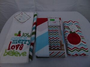 Christmas Bath Accessory Lot Shower Curtain, Fingertip Towel, Hand Towels