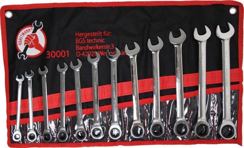 Kraftmann BGS Maul Ring Ratschenschlüssel Satz 12-tlg. 8-19mm