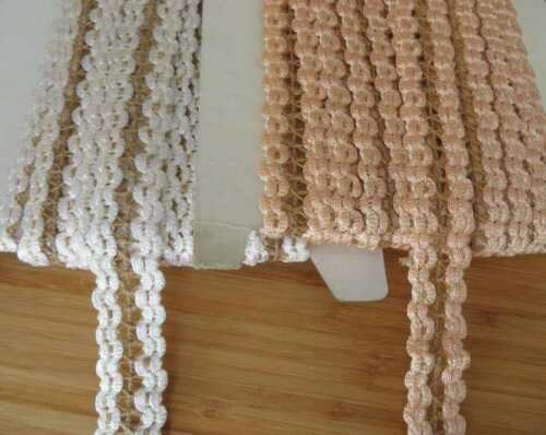 3m of lace braid crochet trimming choose off white or peach