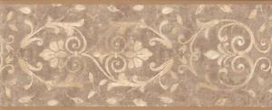 Wallpaper-Border-Tuscan-Taupe-and-Beige-Leaf-Scroll