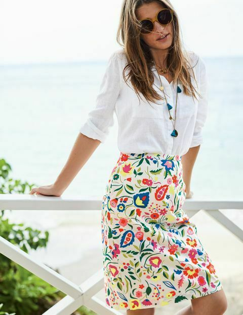 Boden Floral Printed Cotton A-line Skirt Size 8 Regular Bnwt