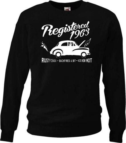 "Birthday  sweatshirt...../""Backfires a bit/"" Morris Minor Registered 1963"
