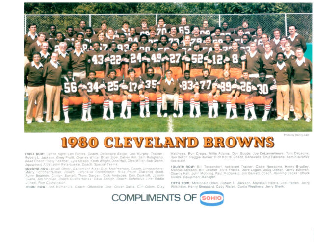 1980 CLEVELAND BROWNS TEAM 8x10 PHOTO ALZADO HILL SIPE  FOOTBALL NFL AFL