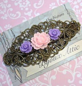 Gold Vintage Filigree Floral Barrette Hair Clip Slide