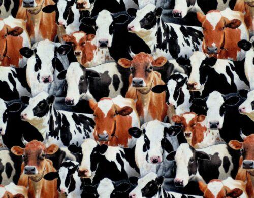 COWS CATTLE FARM RANCH HOLSTEIN DAIRY ELIZABETH STUDIO COTTON FABRIC BY THE YARD