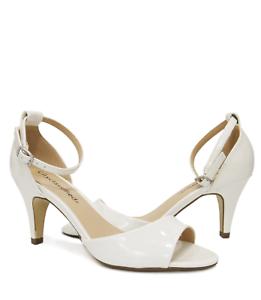 ea7b3f81c14 Women s White Faux Patent Ankle Strap Kitten Heel Dress Sandal ...