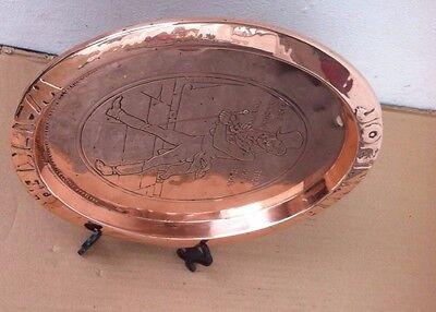 Antique Art Nouveau Oval Johnnie Walker Copper Tray