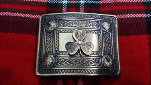 TC Men's Highland Kilt Belt Buckle Celtic Border Irish Shamrock Antique Finish