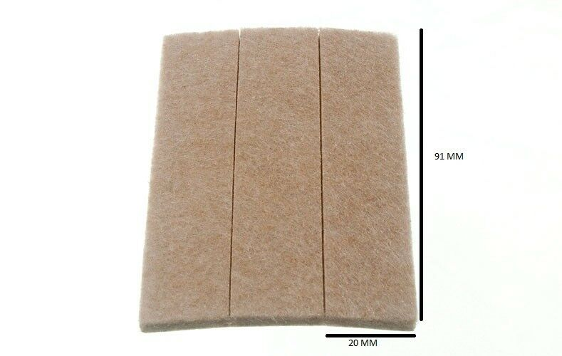 Strip Of 3 Rectangular Felt Pads Self Adhesive 87mm X 19mm X 4mm 200 Strips