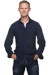 reputable site best choice no sale tax Détails sur Ugholin - Chemise Homme Unie Slim Fit Coton Fluide Bleu Marine  Manches Longues