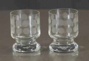 2-x-Ingrid-Glas-Schapsglas-Likoer-Glas-Polka-Dots-Vintage-60er-70er-Jahre-RAR