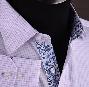 Mens-Blue-Pink-Checkered-Formal-Business-Dress-Shirt-Luxury-Designer-Sexy-Floral