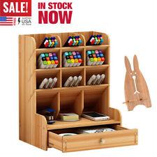 Top Desk Organizer DIY Pen Holder Box Stationary Storage Rack w/Drawer Children