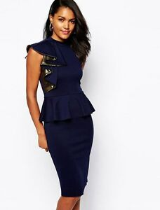 Gorgeous-Navy-Blue-amp-Gold-Peplum-Cocktail-Evening-Formal-Womens-Dress-Size-8-12