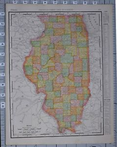 Details zu 1906 MAP UNITED STATES ILLINOIS COUNTIES & CITIES CHICAGO  SPRINGFIELD QUINCEY