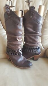 FLY-London-Brown-Leather-Cowboy-Boots-knitting-Size-4UK-EU-37-heel-slouch