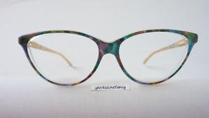 Blau-gruene-Damenbrille-Brillen-Gestell-Schmetterlingsform-70er-Jahre-55-14-Gr-M
