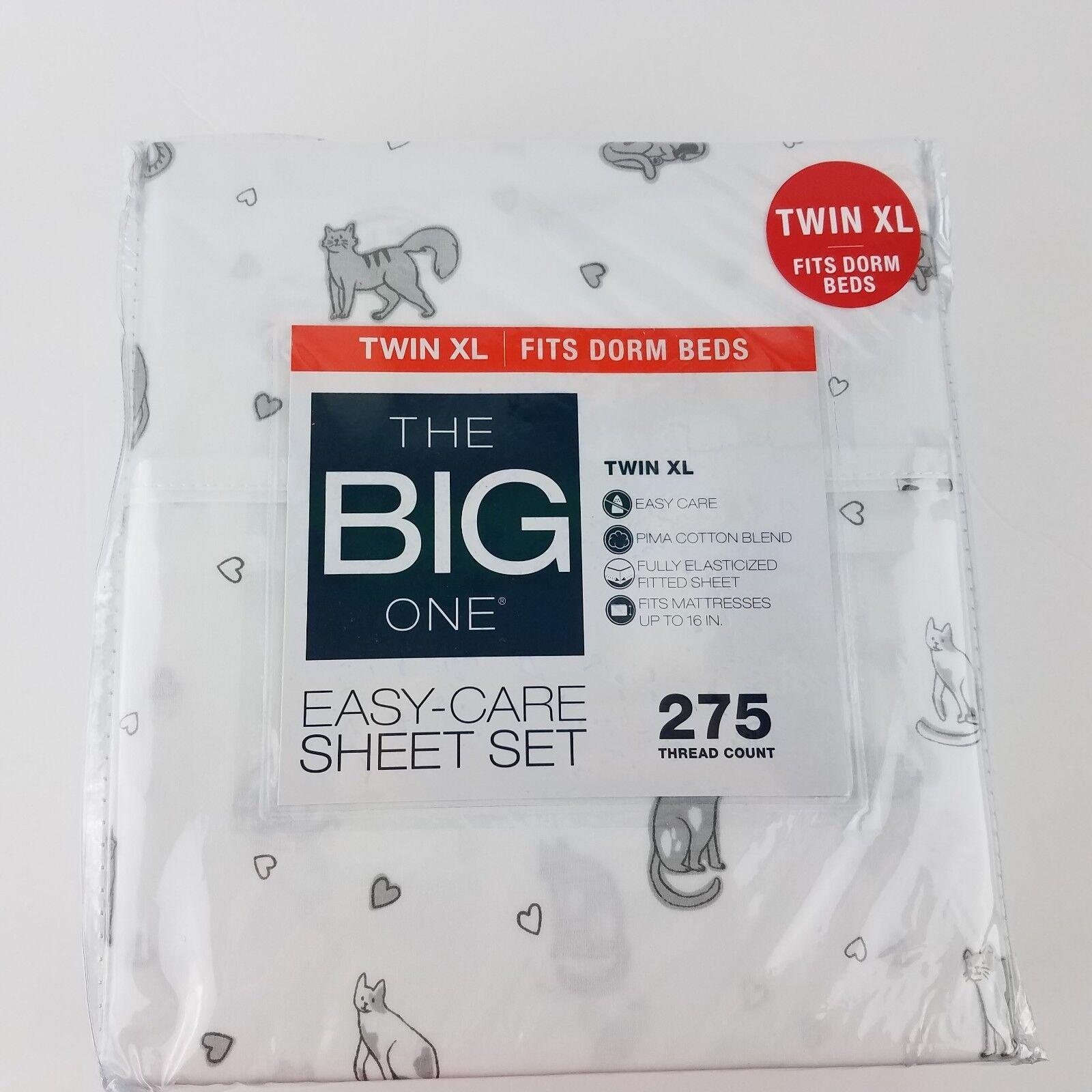 New The Big One Cats Twin XL Sheet Set Fits College Dorm Beds 3 piece Set Pima