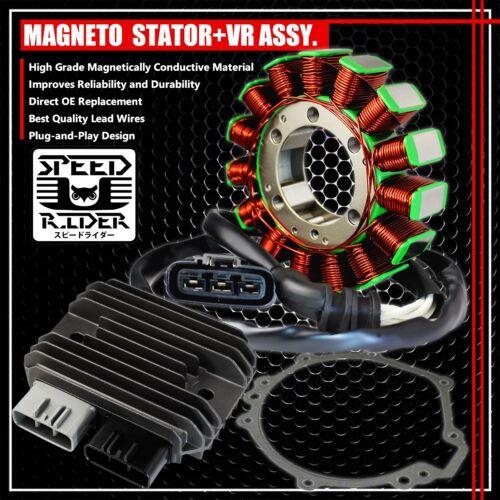 08-10 ZX-10R MAGNETO COIL STATOR+VOLTAGE REGULATOR RECTIFIER+GASKET 21003-0072