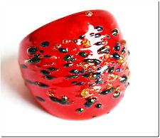 Bague en verre murano mouchetée rouge T54 bijou cadeau LAMPWORK mode été