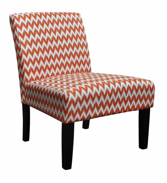 Occasional Modern Lounge Bedroom Living Accent Chair Black Legs Orange Fabric