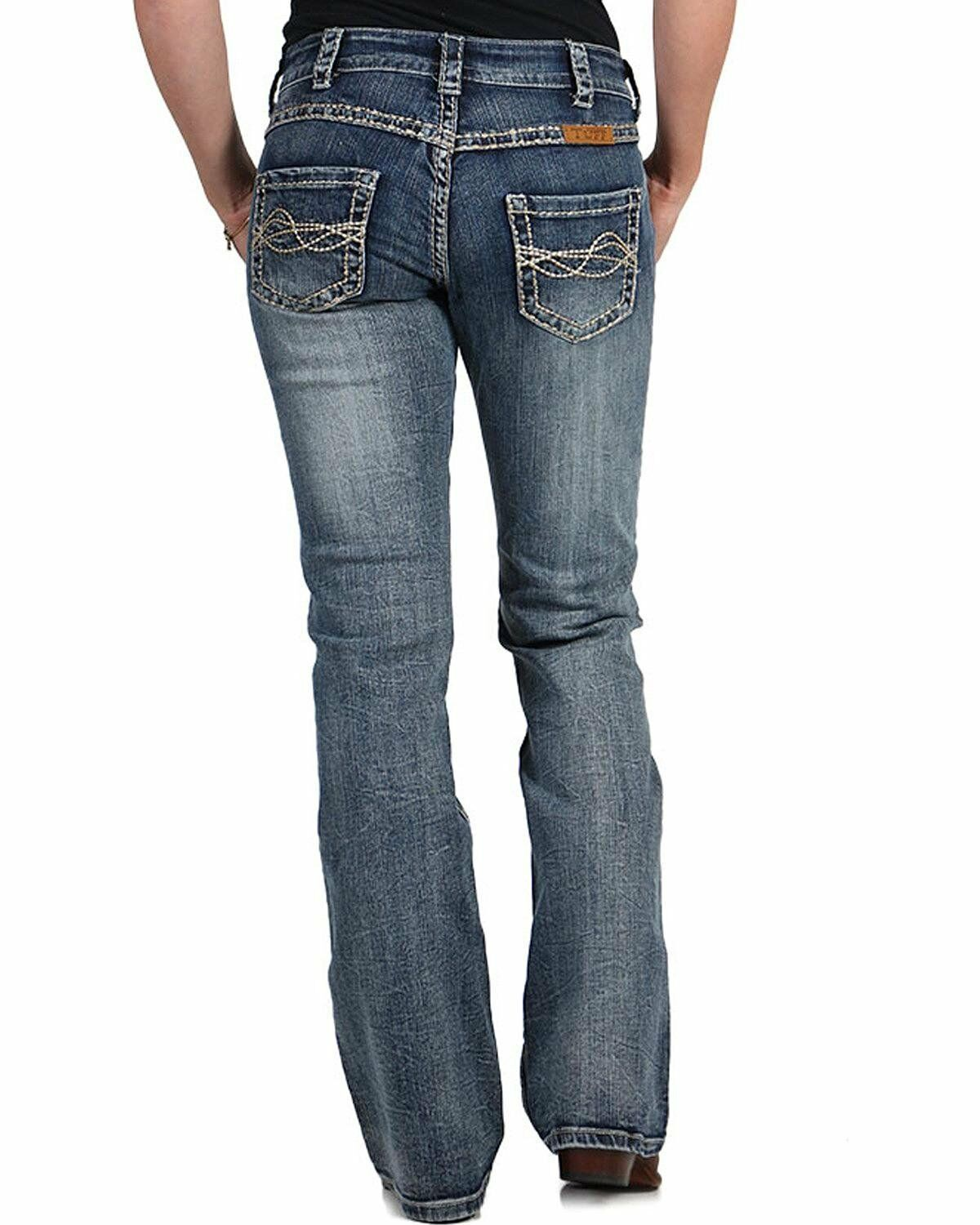 Cowgirl Tuff Women's Timeless Barbed Wire Jeans Boot Cut bluee 28W x 33L