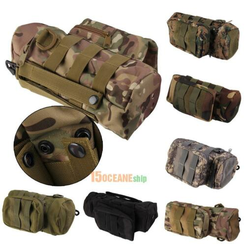 Outdoor Tactical Molle Zipper Water Bottle Pouch Bag with Mess Side Pouch #ORP
