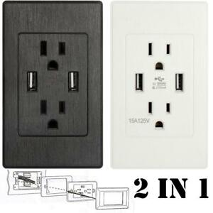 Dual-USB-Port-Wall-Socket-Charger-AC-Power-Receptacle-Outlet-Plate-Power-Adapter