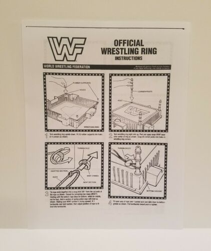 WWF Hasbro Wrestling Ring Instruction Sheet Accessories Reproduction 1990 WWE