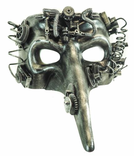 Steampunk Plaque Mask Antique Silver Halloween Costume Eye Face Mask Gears