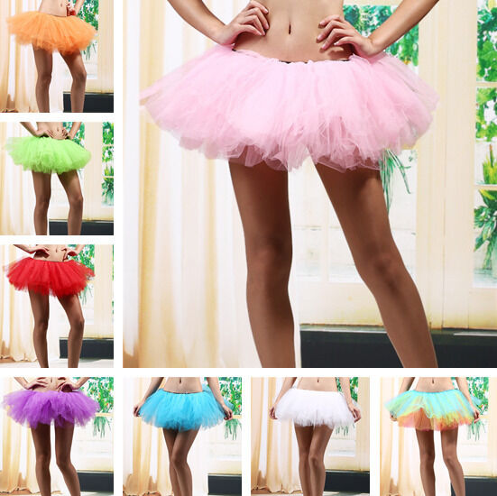 5 Layers Adult Women Tutu Tulle Skirt Petticoat Dance Rave Neon Party Costumes