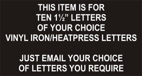 "Iron on//Presse Football transferts lettres//pack de 10 x 1 1//2/""//Blanc//NEUF"