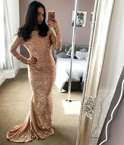 Quiz-Rose-Gold-Sequin-Maxi-Dress-Backless-Womans-Prom-RRP-99-99