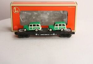 Lionel-6-36001-Route-66-Flatcar-W-2-Jeep-Woody-Wagons-344-C9-gt