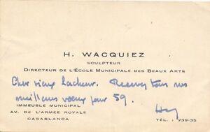 Art Henri Wacquiez Carte De Visite Autographe Signee